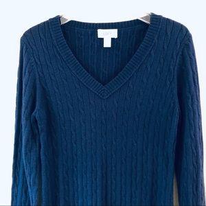 Ann Taylor LOFT Cable Knit V neck Sweater Large